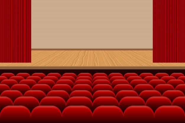 Sala de teatro con filas de asientos rojos y escenario de madera ilustración