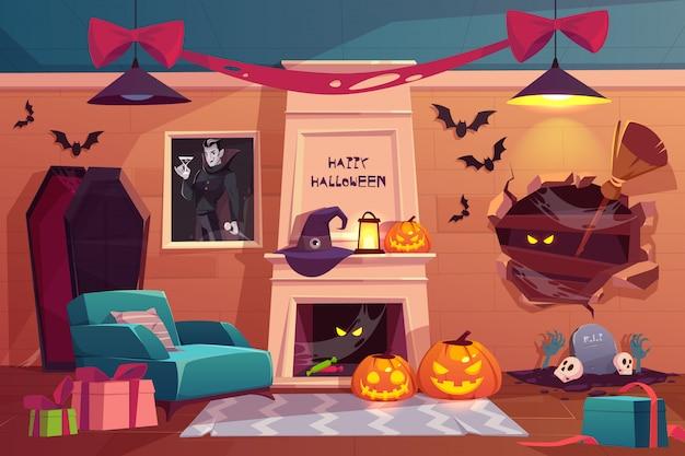 Sala de vampiros aterradora vacía con calabazas, chimenea, muebles, ataúd, telaraña, murciélagos voladores y accesorios de brujas