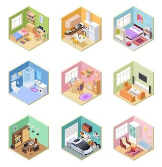 Salas isométricas. casa ed, sala cocina baño dormitorio inodoro apartamento interior con juego de muebles