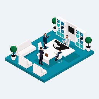 Salas de reuniones isométricas, trabajadores de oficina de varios pisos que se encuentran con hombres y mujeres de negocios en 3d, muebles de oficina
