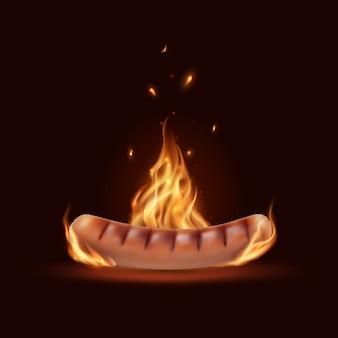 Salchicha en el fuego, parrilla barbacoa quemando salchichas de vector con llamas y chispas