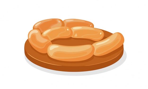 Salchichas grasas hervidas o ahumadas en bandeja marrón. embutidos cocinados para desayuno, almuerzo. producto agrícola de carne picada de cerdo, res, pollo, ternera. ilustración de dibujos animados sobre fondo blanco.