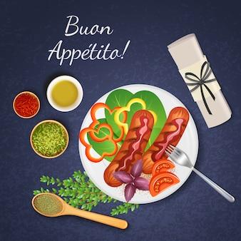 Salchichas a la parrilla bbq servidas con varios tipos de salsa verduras y hierbas ilustración realista