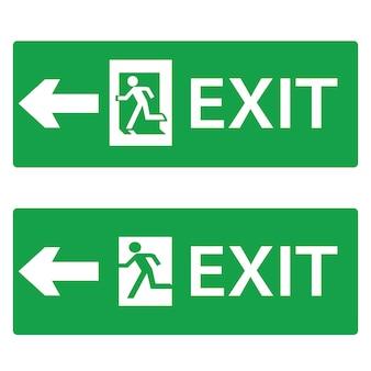 Salida, icono de salida de emergencia o punteros de señalización para navegación