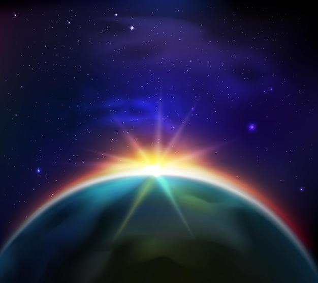 Salida del sol en la ilustración estrellada del cielo oscuro