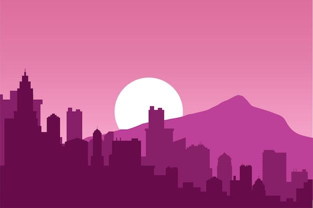Salida del sol en un paisaje urbano con montañas, vector fondo púrpura