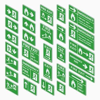 Salir conjunto de signos isométricos aislado