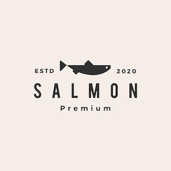 Salmón pescado hipster vintage logo icono ilustración
