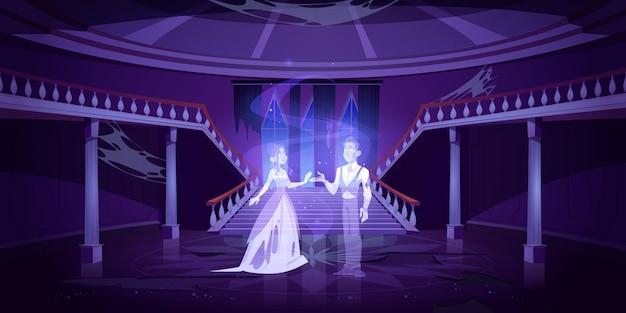 Salón del antiguo castillo con pareja de fantasmas bailando en la oscuridad. sala de noche de miedo con escaleras de mármol y telaraña.