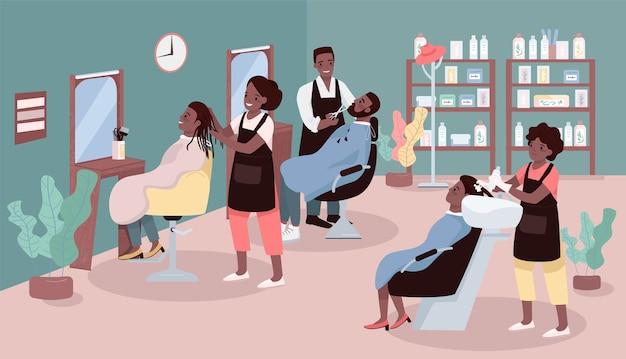 Salón de belleza color plano. servicio de corte de cabello para mujeres y hombres. salón de belleza con peluqueros afroamericanos personajes de dibujos animados 2d con muebles en el fondo
