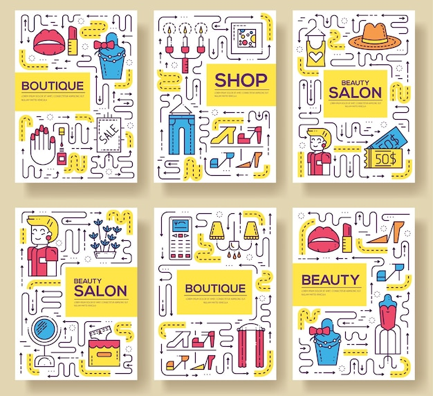 Salón de belleza con conjunto de tarjetas de surtido