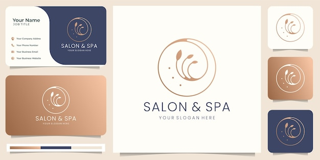 Salón de belleza femenino y logotipo de forma de círculo de arte de línea de spa con hoja minimalista. diseño de logotipo, icono y plantilla de tarjeta de visita. vector premium
