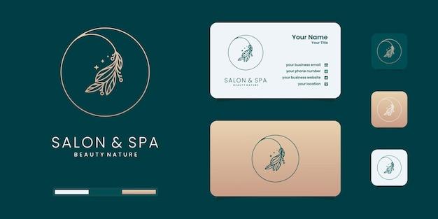 Salón de belleza femenino y logotipo de forma de círculo de arte de línea de spa con hoja minimalista. inspiración para el diseño de logotipos.