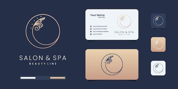 Salón de belleza femenino y logotipo de forma de círculo de arte de línea de spa con hoja minimalista. plantillas de diseño de logotipos.