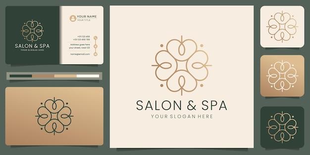 Salón de belleza femenino y plantilla de logotipo de forma de monograma de arte de línea de spa