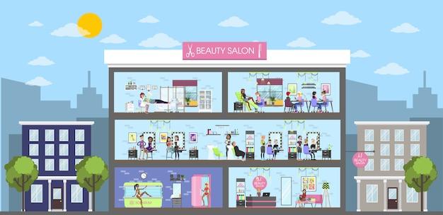 Salón de belleza interior del edificio en la ciudad. paisaje urbano.