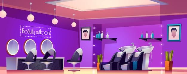 Salón de belleza interior, sala de estudio vacía para cortes de cabello y procedimientos de cuidado con escritorio de muebles