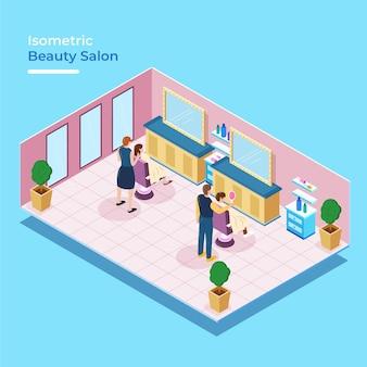 Salón de belleza isométrica con gente