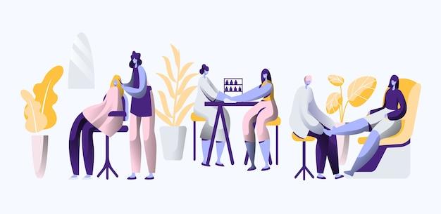 Salón de belleza de lujo. el estilista profesional hace que las uñas y el cabello sean elegantes, elegantes y hermosos para la mujer. procedimiento cosmético, peluquería y pedicura. ilustración de vector de dibujos animados plana