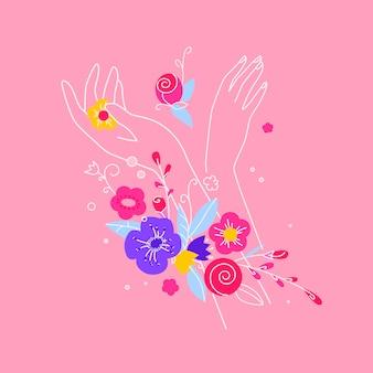 Salón de belleza, manos cuidado concepto banner. concepto de cuidado de manos femeninas: crema, masaje, cosmética ecológica, hierbas curativas. hermosa composición de manos femeninas con rosas y pétalos, hojas. vector colorido