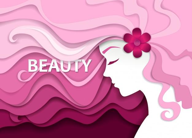 Salón de belleza en papel estilo art
