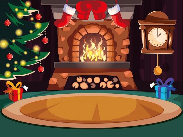 Salón con chimenea y decoración navideña.