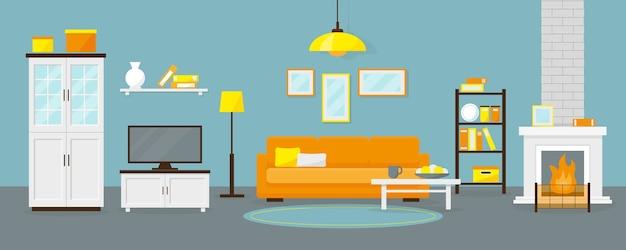 Salón con chimenea y mobiliario