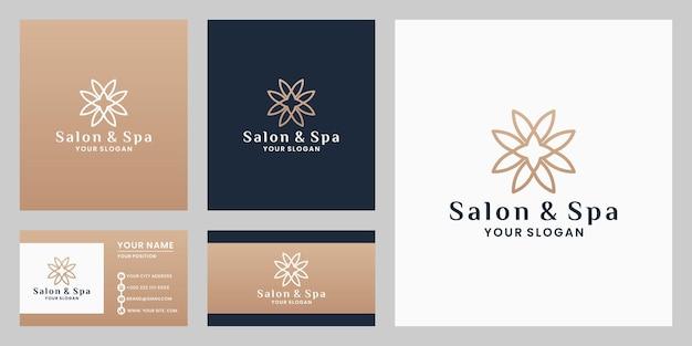 Salón de flores de belleza y diseño de logotipo de spa con plantilla de tarjeta de visita de color dorado