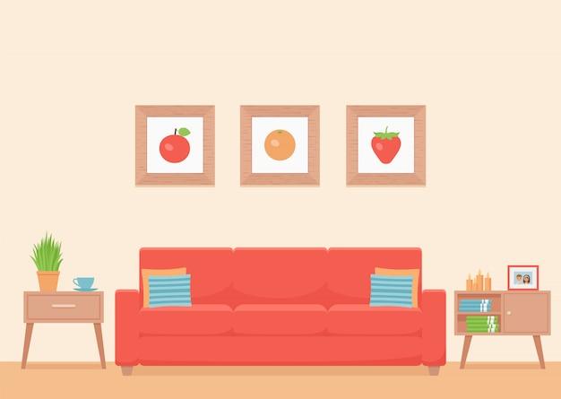 Salón interior. casa moderna con muebles