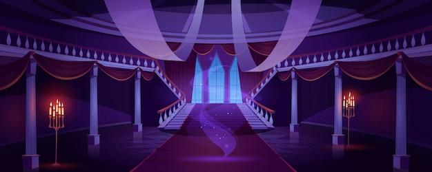 Salón interior con fantasma en castillo medieval