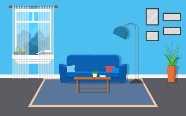 Salón interior con muebles y ventana.