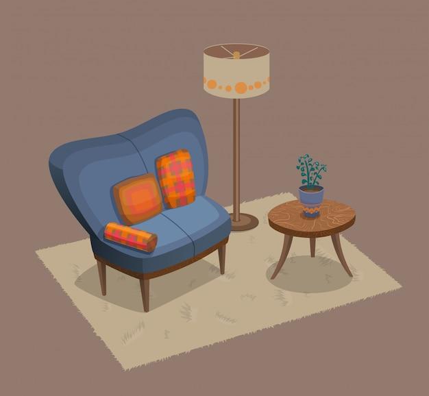 Salón interior con sofá