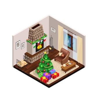 Salón isométrico interior de navidad con chimenea