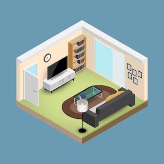 Salón isométrico con muebles.