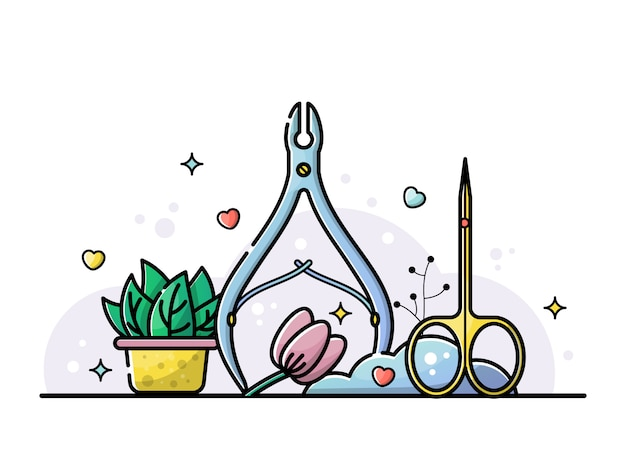 Uñas salón y manicura ilustración de herramientas