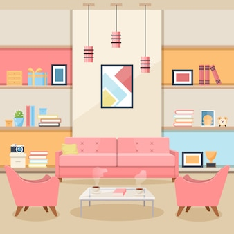 Salón con muebles. interior acogedor vector de estilo plano
