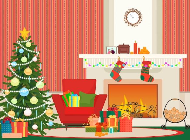 Salón de navidad interior con chimenea.