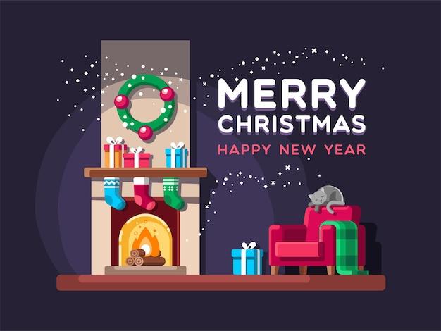 Salón navideño con regalos y chimenea.