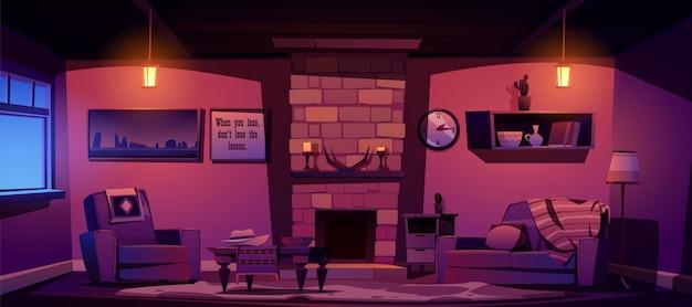 Salón del oeste salvaje noche interior de estilo occidental