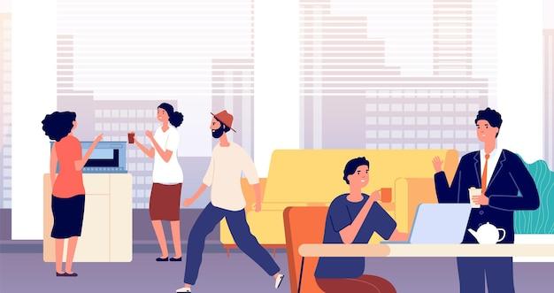 Salón de oficina. vestíbulo, la gente bebe té de café. comedor en centro de negocios. área común en el albergue, la gente almuerza y charla. ilustración de vector de pausa para el café. personas en la oficina del salón, zona de descanso