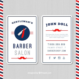Salón del peluquero tarjetas bigote rojo