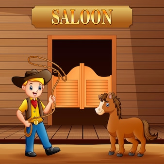 Salón del salvaje oeste con vaquero y un caballo.