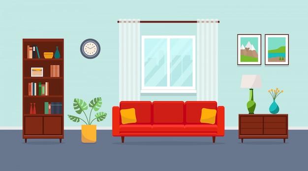 Salón con sofá rojo, estantería, torchere, florero, planta, cuadros y ventana. ilustración plana