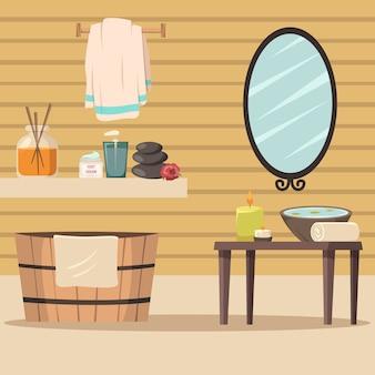 Salón de spa con accesorios para la relajación.