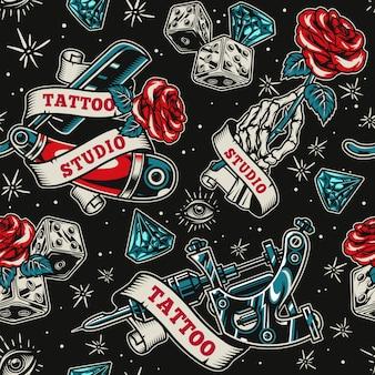 Salón de tatuajes vintage de patrones sin fisuras