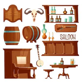 Salón de vaquero, juego de muebles de bar retro occidental