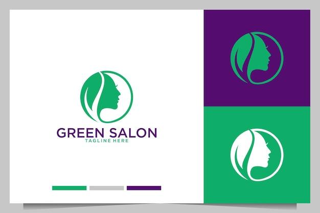 Salón verde con diseño de logotipo de mujeres de belleza.