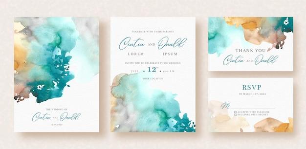 Salpicaduras abstractas acuarela mezclada en invitación de boda
