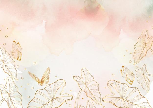 Salpicaduras de acuarela con fondo de arte de línea floral