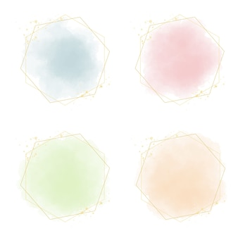 Salpicaduras de acuarela pastel multicolor con marco dorado y brillo
